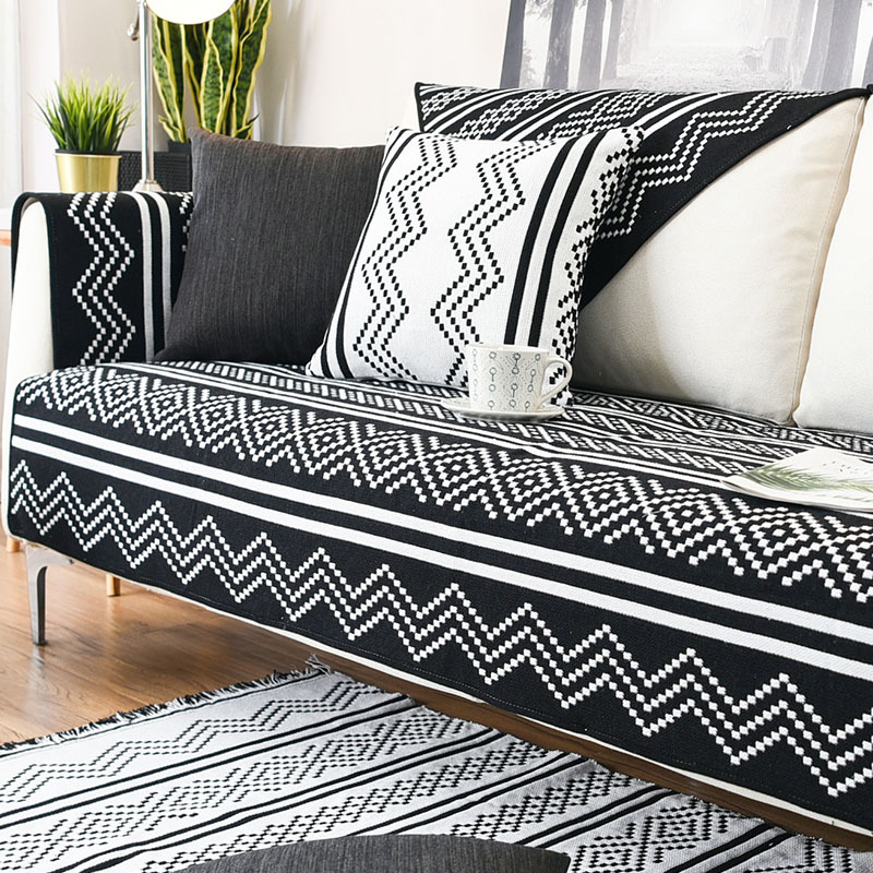 Slipcovers Sofa Cover Couch Cover Sofa Towel Black White Stripped Sectional Sofa Cover Love Seat Patio Furniture Home Textile