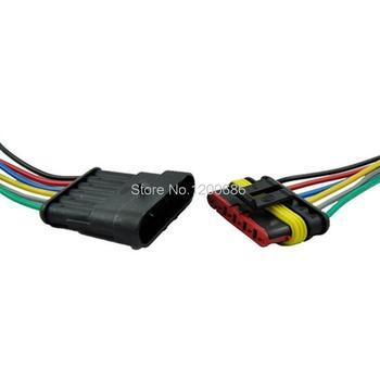 Connecteur électrique Auto étanche | 1/2/3/4/5/6 broches, voie AMP voiture, Kit de prise de courant avec fil AWG jauge Marine