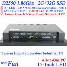 Ультра тонкий Все в Одном PC 15 дюймов 4: 3 6COM LPT с высокой температурой 5 провод Gtouch промышленных встроенных с 2 Г RAM 32 Г SSD