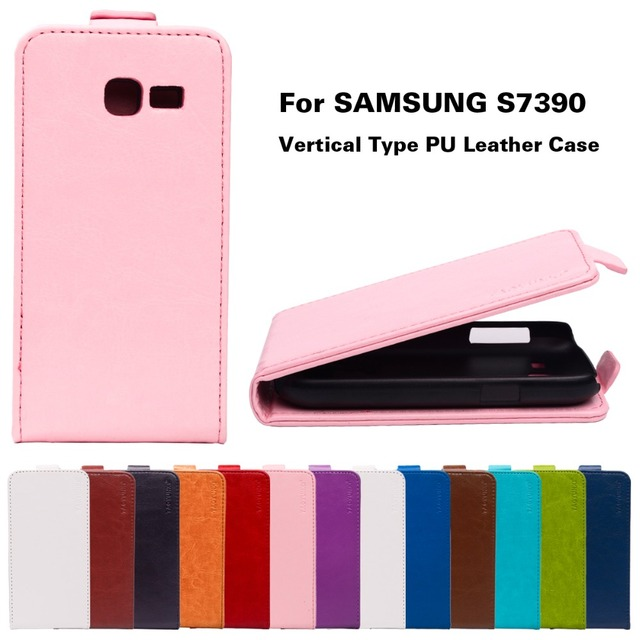 PU Leather Cases For Samsung Galaxy Trend Lite S7390 / Fresh Duos S7392 GT-S7392 GT-S7390 Cover Vertical Flip Holster Shell