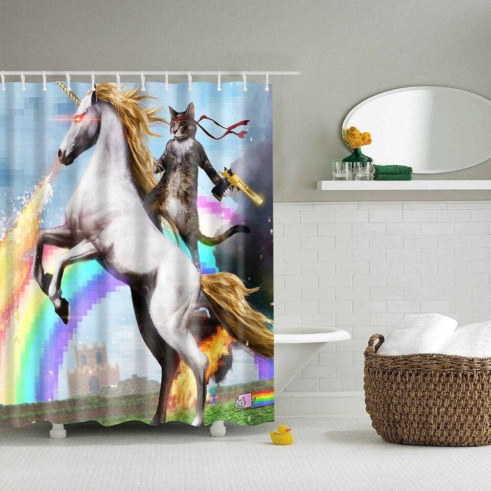 คุณภาพสูง adventures of Unicorn และแมวพิมพ์ผ้าม่านอาบน้ำ Bath ห้องน้ำตกแต่งด้วย Hooks กันน้ำ