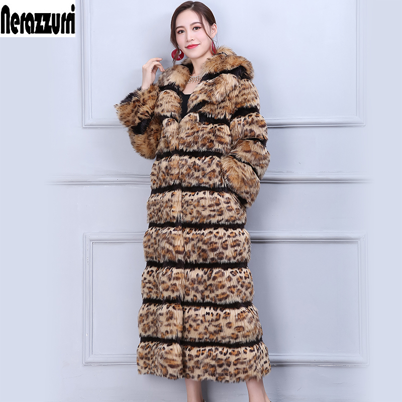 Nerazzurri High Quality Leopard Print Faux Fur Coat Women Runway Long Elegant Winter Thicken Maxi Plus Size Fox Fur Overcoat 5xl