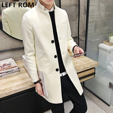 LEFT ROM Fashion men are high-end in winter keep warm Woolen cloth coat/Male Stand collar pure color Long Single-breasted jacket
