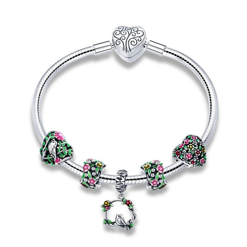 925 Sterling Argent fleur de printemps Coloré Émail bracelets porte-bonheur et Bracelets pour les Femmes Bijoux En Argent Sterling SCB804 BAMOER