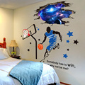 [SHIJUEHEZI] 3D Outer Space Wall Stickers DIY Basketball Player Mural Decals for Kids Room Baby Bedroom Ceiling Decoration