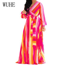 WUHE New Floral Print Chiffon Maxi Dresses Sexy Deep V-neck Lace Up Long Sleeve Loose Dress Autumn Vintage Clothing for Women