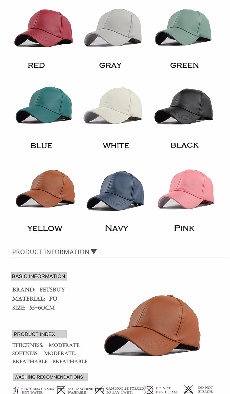 FETSBUY New High Quality Leather Cap Biker Trucker Caps PU Solid Color HIP HOP Snapback Baseball Cap Fitted Adjustable Hat 2017 16