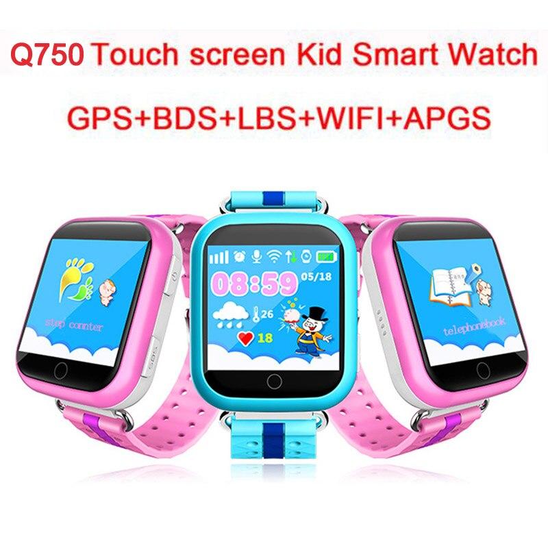 Q750 enfants montre intelligente GPS téléphone LBS emplacement SOS vie étanche enfant écran tactile Smartwatch pour bébé sûr Anti-perte moniteur
