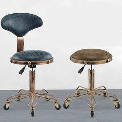 H wysokość regulowane krzesła do haftowania paznokci z wysoką elastyczną gąbką Retro brąz krzesło fryzjerskie obróć podnieś taborety kosmetyczne