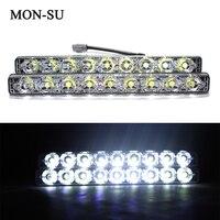 2pcs Car LED DRL Daytime Running Lights 18W White 9 LED Fog Light Waterproof For All