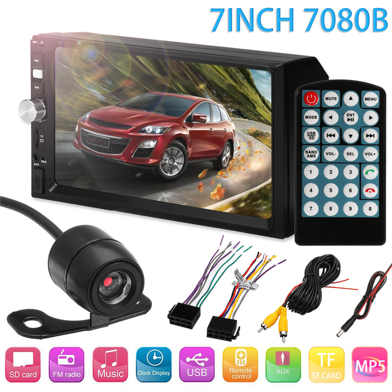 7 Inch 2DIN Car MP5 Player Remote control Bluetooth for Touch Screen Stereo Radio + HD Round Camera Rear View Camera Car new 7 inch 2din bluetooth car radio video mp5 player auto radio fm 18 channel hd 1080p in dash remote control rear view camera