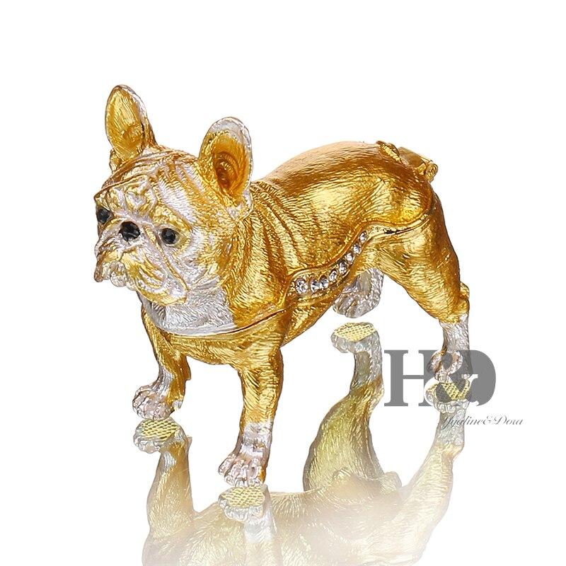 H&D 3.2'' Bulldog Jewelry Trinket Box Crystals Jeweled Dog Figurine Pewter Enamel Animal Decor Gifts for Dog Lover Home Decor