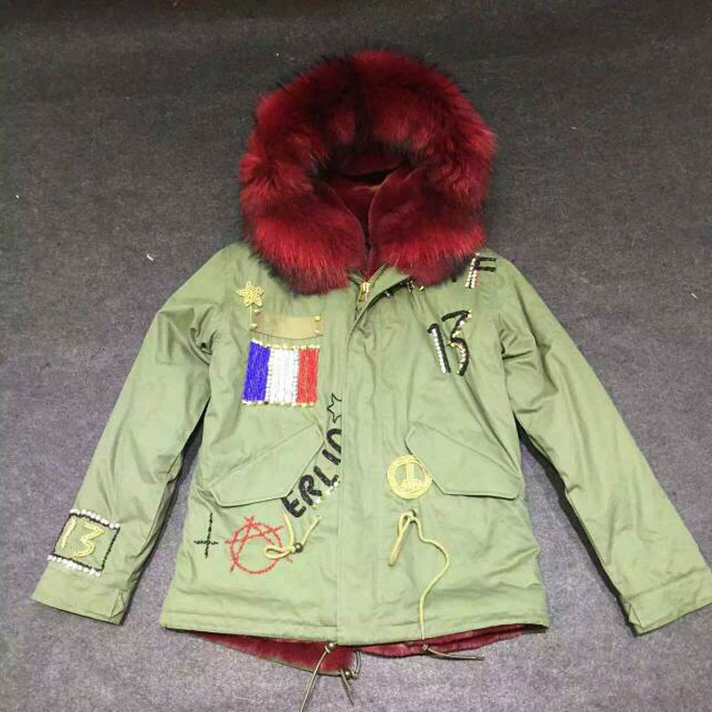 Fashion Flag of France Beading short style wine red faux fur inside winter coat raccoon fur hooded free shipping