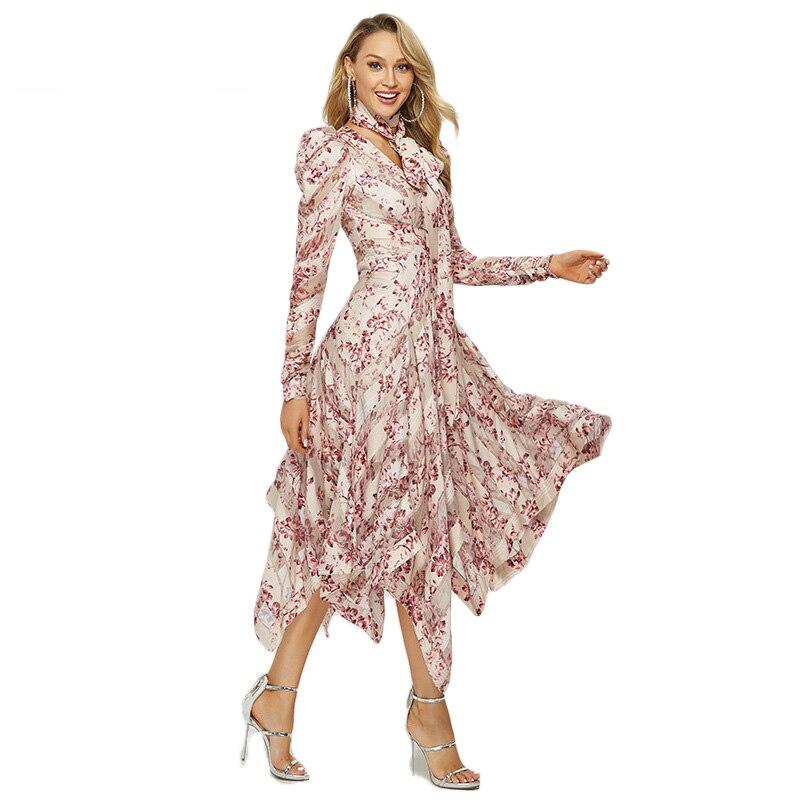 طويل ماكسي غير المتماثلة غير النظامية الوردي اللباس الصيف طويلة الأكمام الأزياء المطبوعة البوهيمي اللباس خمر Vestidos الإناث الملابس-في فساتين من ملابس نسائية على  مجموعة 2
