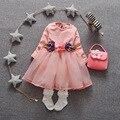 Бесплатная доставка 2016 Новый стиль цветочные мода дети девочка платье принцессы, 100% хлопок полный рукав свободного покроя детей детское платья