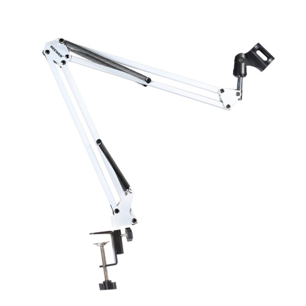 NEEWER White Broadcasting Studio Microphone Suspension Boom Scissor Arm Stand, Extended Up To 80cm (31.5