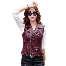 Women's Leather Vest Motorcycle PU Leather Female Vest Fashion Sleeveless Jacket Plus Size Turn Collar Pockets Waistcoat Ladies pu leather panel plus size sleeveless bandage mini hot dress