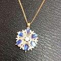 Natural azul piedra de luna colgante S925 Collar de plata Colgante de piedras preciosas Naturales joyería partido de las mujeres de moda Elegante ronda Bola de Fuego