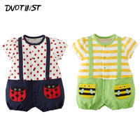 Baby Girls Clothes Summer Short Sleeves Strap Bee Ladybug Rompers Outfit Kid Infantil Toddler Jumpsuit Clothing