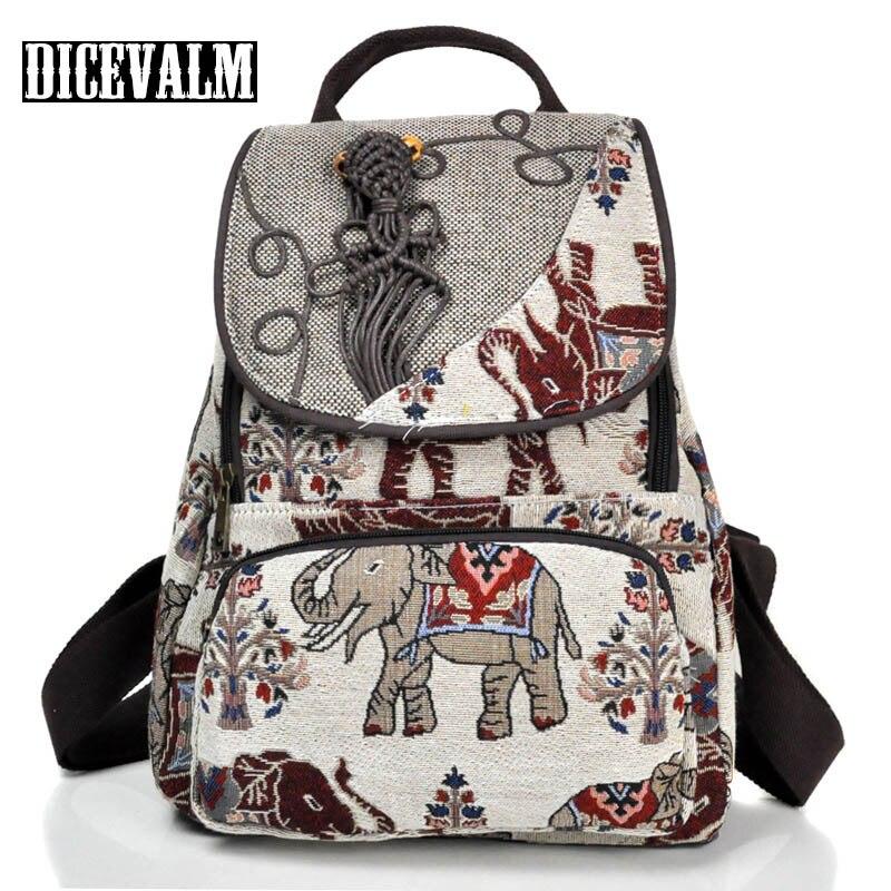 Original Elephant Backpack Female Knitted Retro Travel Backpack School Bags For Teenage Girls Mochila Masculina Back Pack