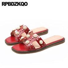 01b7d1015 Rebite Embelezado Sandálias Vermelho Dedo Aberto Sapatos Rasos De Rock Stud  Slides Mulheres Tamanho Grande Escorregar
