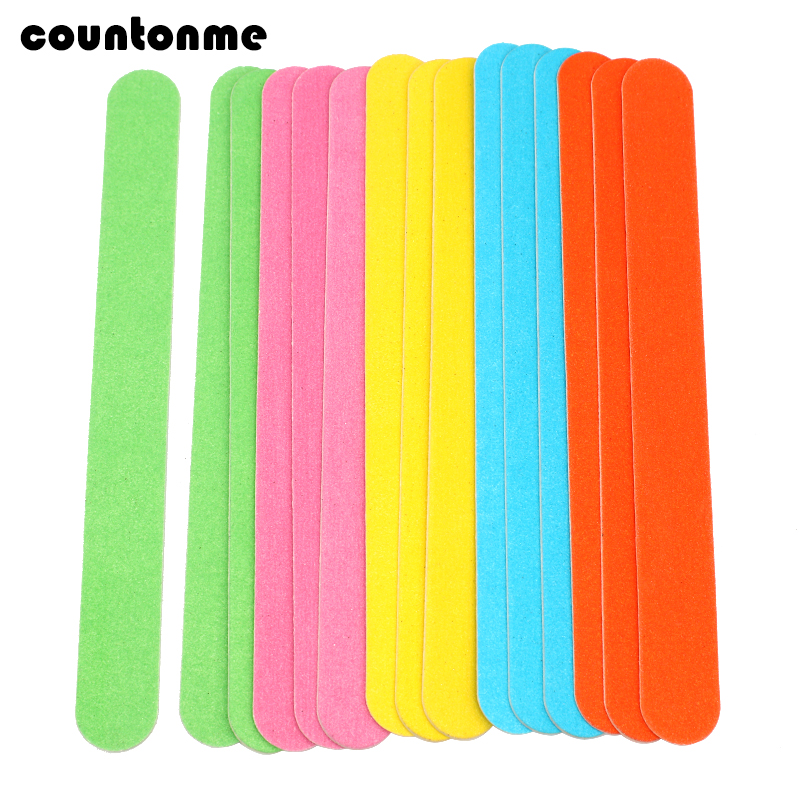 20pcs Straight Wooden Nail Files 180/240 Disposable Sanding Lime A Ongle Colorful Wood Buffer Manicure UV Gel Nail Polish Files