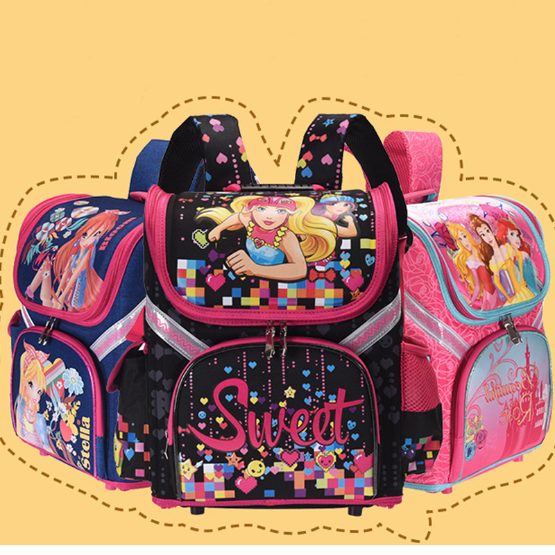 6 модель дети новый девочек Школьный рюкзак Кот Бабочка winx EVA сложенные Ортопедические детей школьные сумки для девочек mochila infantil мешок