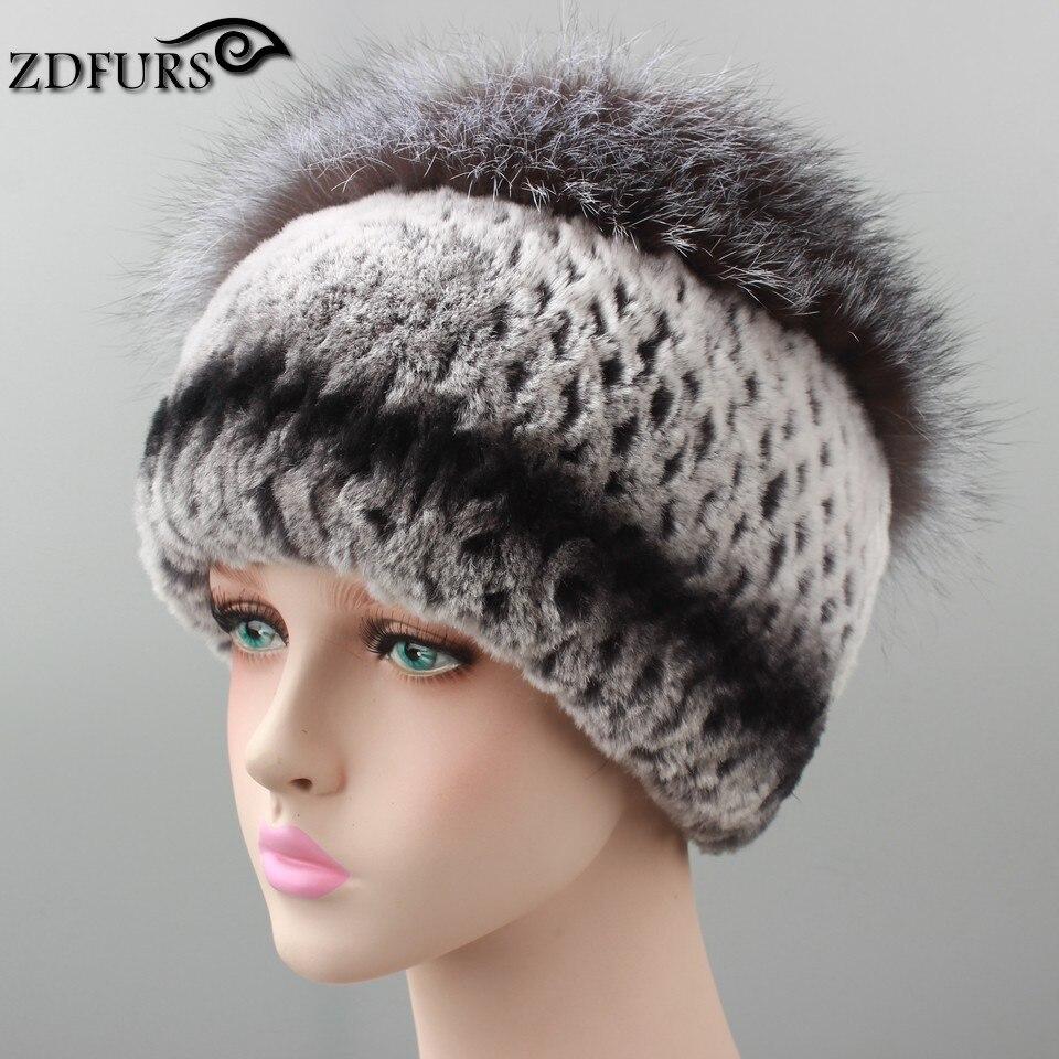 2016 Russia Style 100% Real Rex Rabbit Fur Hat With Large Silver Fox Fur Pom Poms Beanies Elegant Women Natural Fur Caps Warm цена 2017