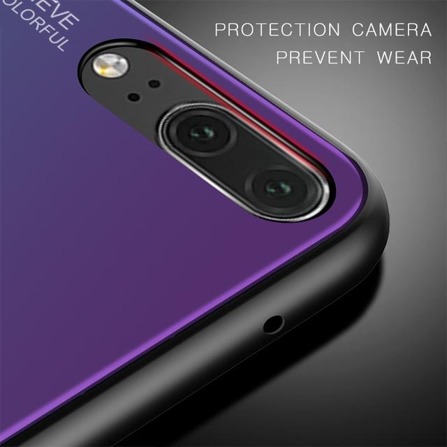 Gradient Tempered Glass Phone Case For Huawei Honor 8X Mate 20 Pro Mate 10 P20 Lite P Smart Plus Nova 3i 3 4 P30 Cover Housing