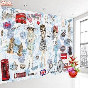 Image 5 - ShineHome Modern Custom 3D Wallpaper European City London Fashion Girl Wallpapers for 3 d Living Room Bar TV Cafe Wall Paper