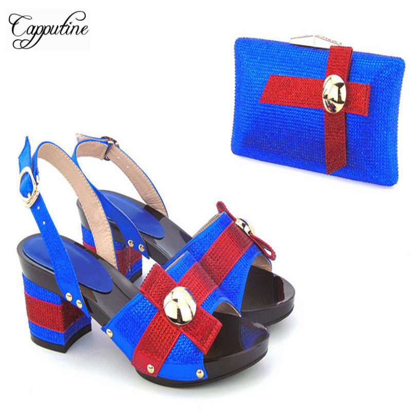 Capputine 2017 Hot Sale Africa Shoes And Bag Set Summer Seyle Woman High Heels Shoes And Bat For Party Free Shipping capputine new arrival fashion shoes and bag set high quality italian style woman high heels shoes and bags set for wedding party