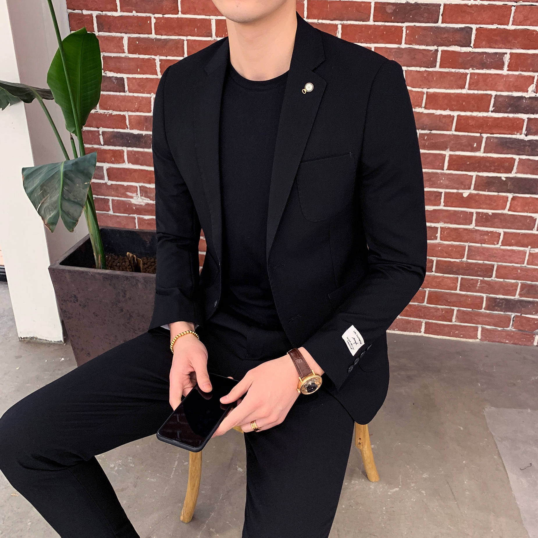 Slim Fit Men Suits 2 Piece Mens Suit With Pants Tweed Classic Black Streetwear Casual Tuxedo Suits Costume Homme Terno 2019
