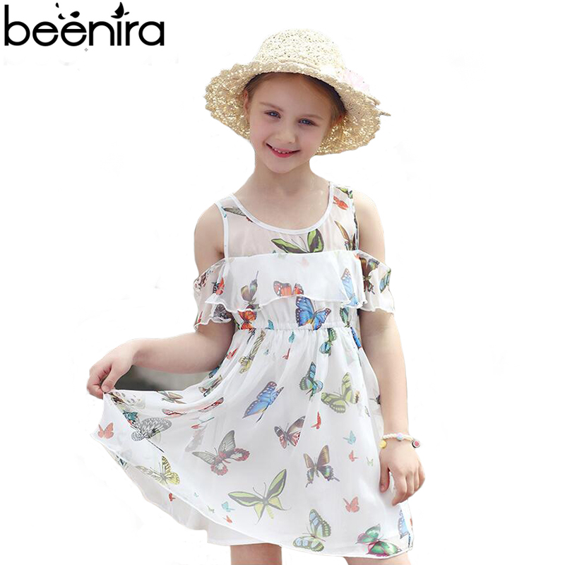 2017 Summer New Girls Dresses Children Princess Bare Shoulder Butterfly Printing Exquisite Ball Gown Clothing for Party Europe 4pcs new for ball uff bes m18mg noc80b s04g