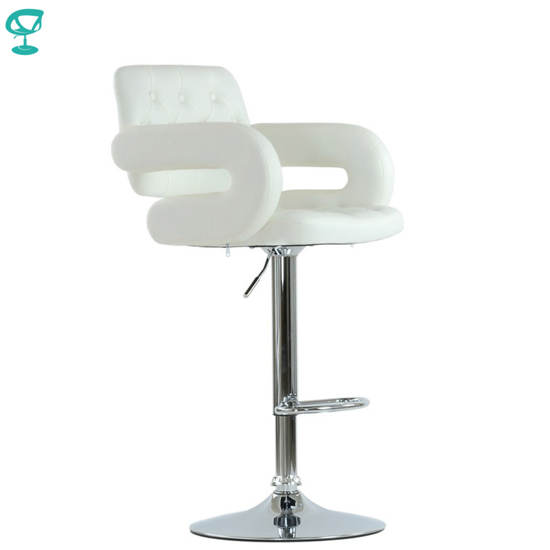 94537 Barneo N-135 Leather Kitchen Breakfast Bar Stool Swivel Bar Chair White Color Free Shipping In Russia