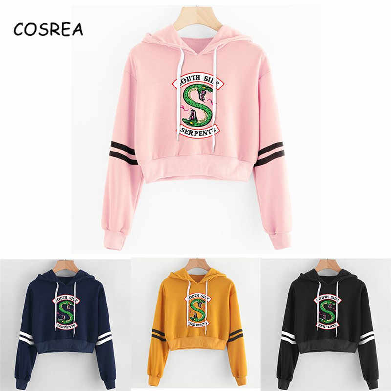 Sexy Crop Top Women Hoodies RIVERDALE Southside Serpent Print Harajuku Spring Hot Sale Casual Hoodies Sweatshirts Plus Size