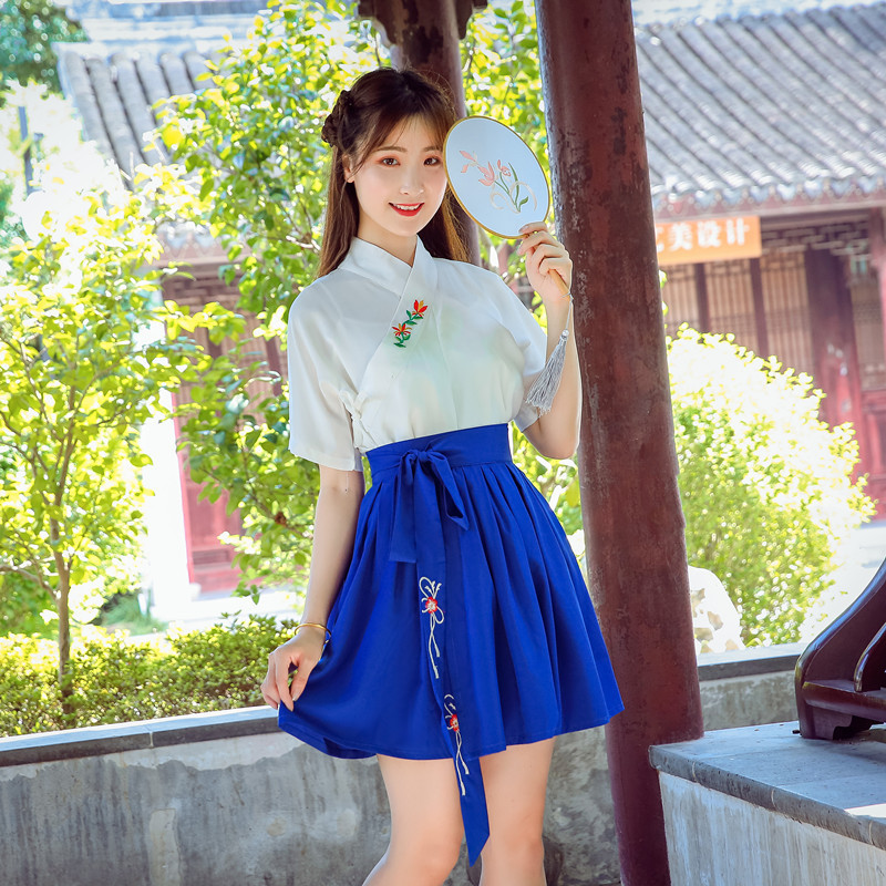 Hanfu Costume Dress Women Improved Hanfu Daily Short Sleeve Hanfu Embroidered Crossdresses Costumes Han Elements Student Set 24