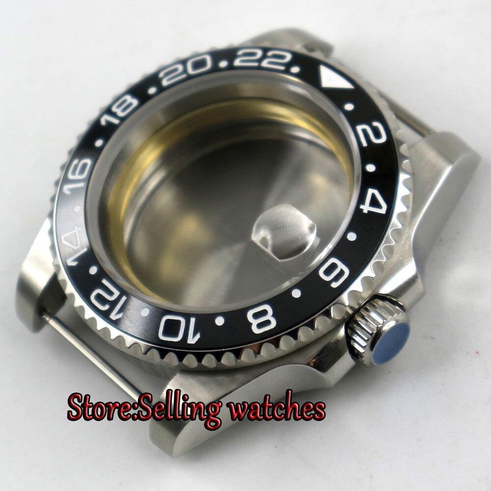 43mm saphir verre noir en céramique lunette boîtier en acier inoxydable pour montre fit ETA 2824 2836 8215 mouvement
