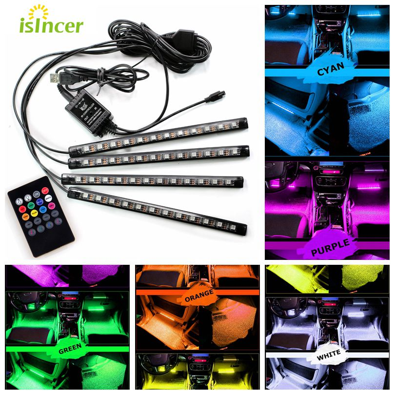 4pcs 12LED Car RGB LED Strip Light 48LED Decorative Atmosphere Lamps 8 Colors Car Interior Light With Remote Control Car Styling 80 channels hdmi to dvb t modulator hdmi extender over coaxial