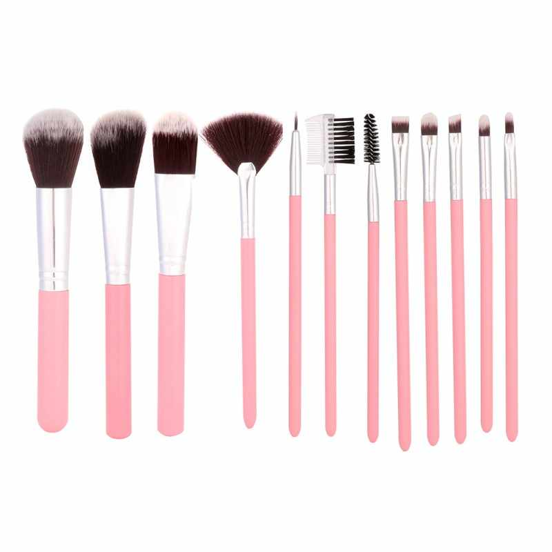 c4a0b9784d40 2019 12Pcs/Sets Makeup Brushes Tool Eye Shadow Foundation Eyebrow Lip Brush  cosmetics Leather Cup Holder Case Kit D1