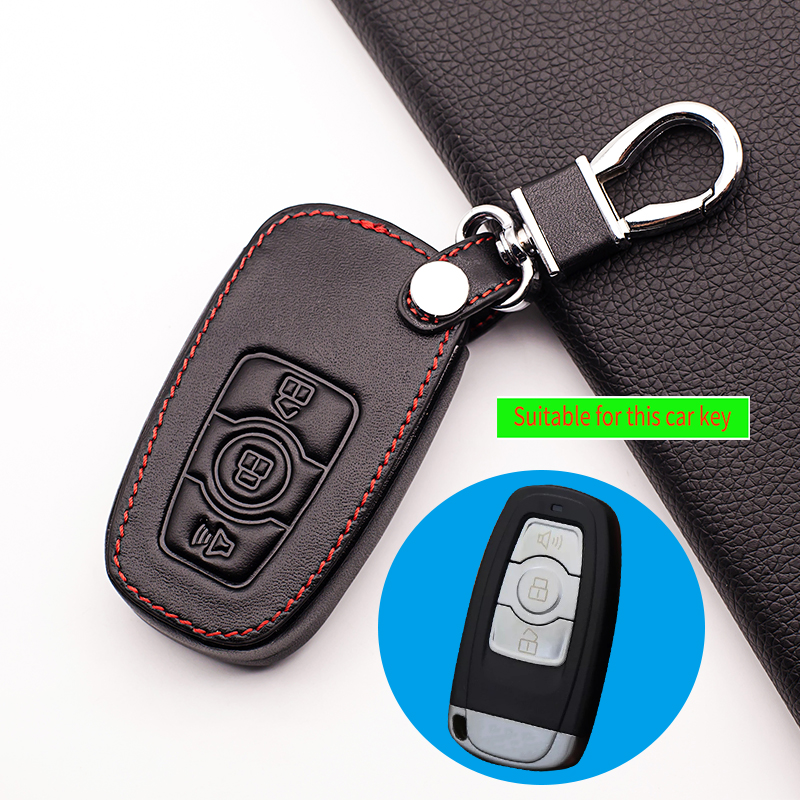 Hot sale Genuine Leather Car Key Fob Cover for Great Wall Haval H6 2015 C50 Hoist Case Key Wallet  Key Chain Auto Accessorie(China)