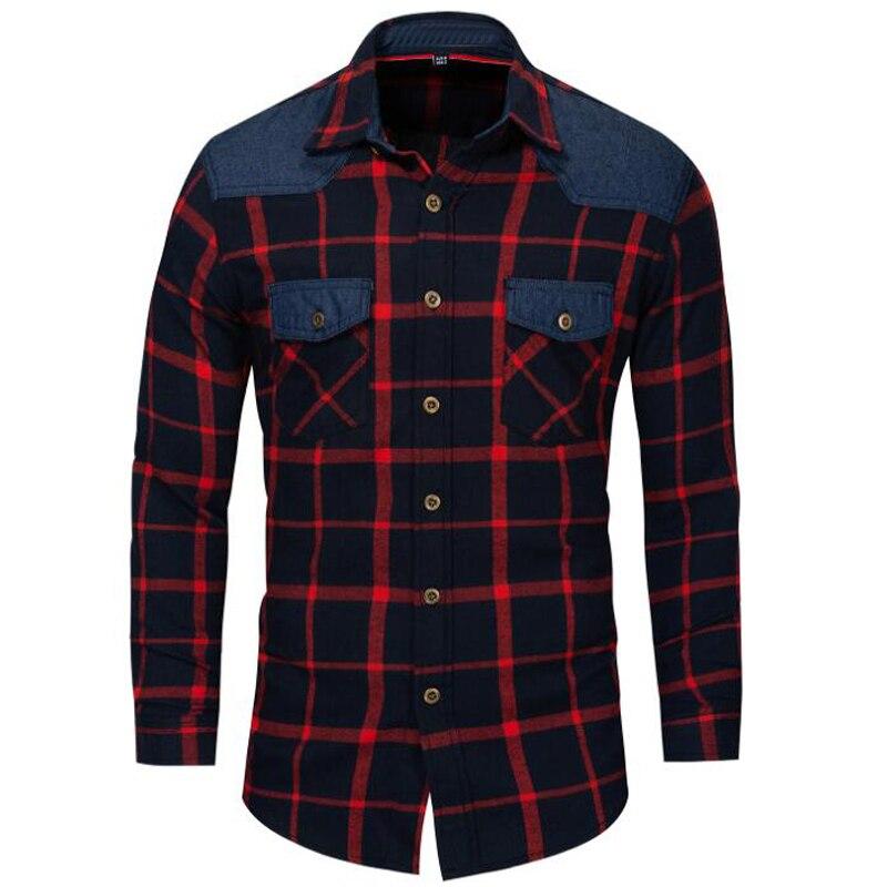 2018 new high quality shirt Brand cotton business casual plaid men's shirt Cotton long sleeve shirt men camisa masculina