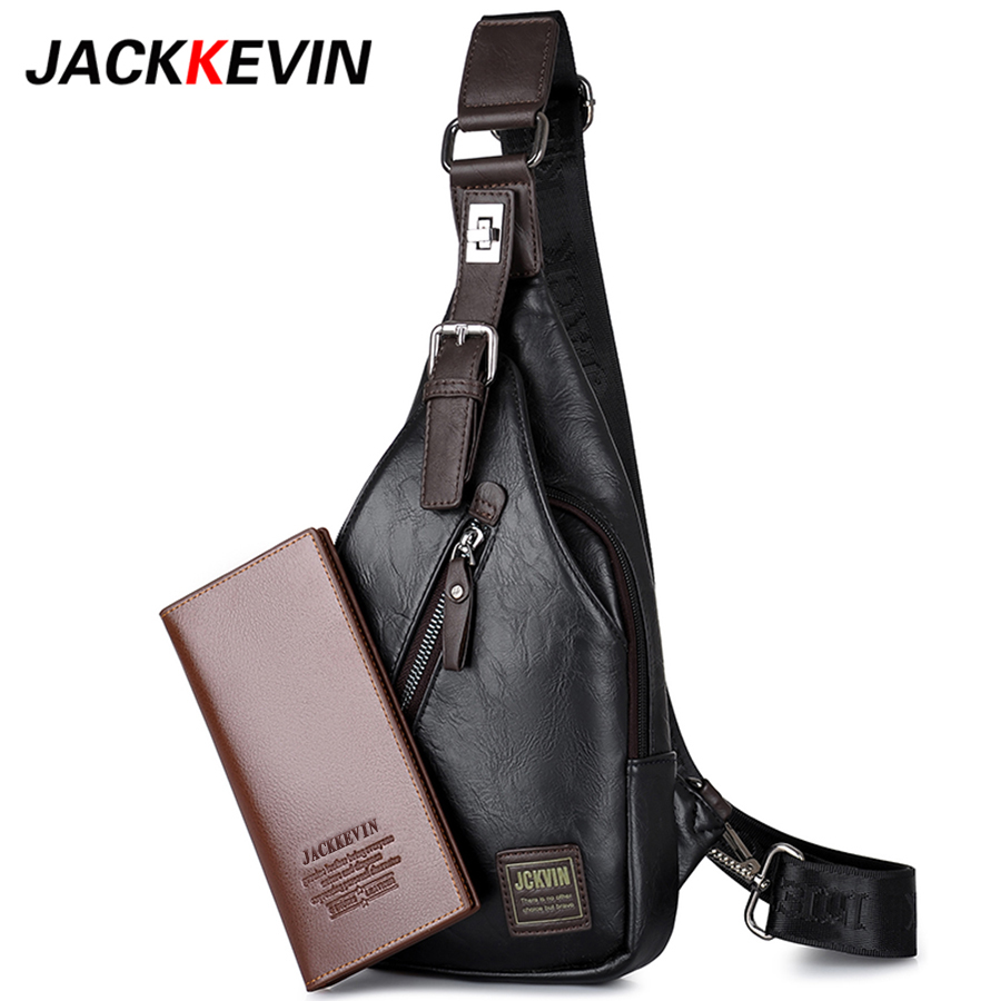 JACKKEVIN Brand Quality Assurance Chest Bag Men Outdoor Anti Theft Magnetic Clasp Leather Bag Messenger Bag