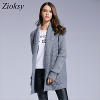 2017 Autumn Winter Women Gray Long Cardigans Coat Long Sleeve Open Stitch Knitted Sweater Pockets Loose