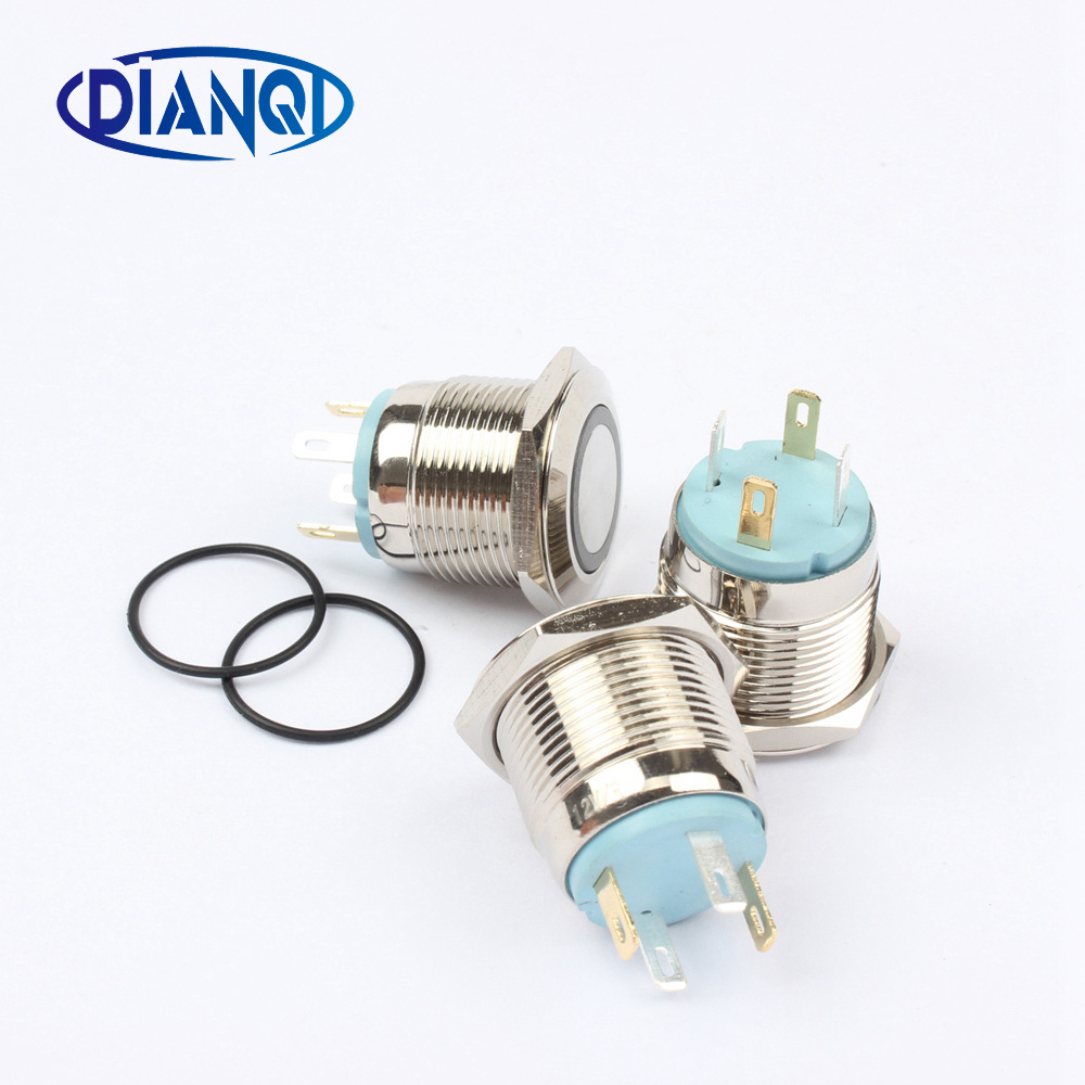 Free Shipping 16mm Stainless Steel Button Ring Illumination Flat Wiring A Push Lamp Switch Momentary Led Metal 16hx