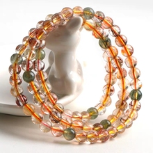 Genuine Natural Copper Rutilated Quartz Colorful Crystal Bracelet Women 6mm 7mm 3 Laps Round Beads Wealthy Stone Necklace AAAAA