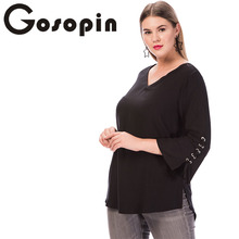 Gosopin V Neck T Shirt Women Long Sleeve