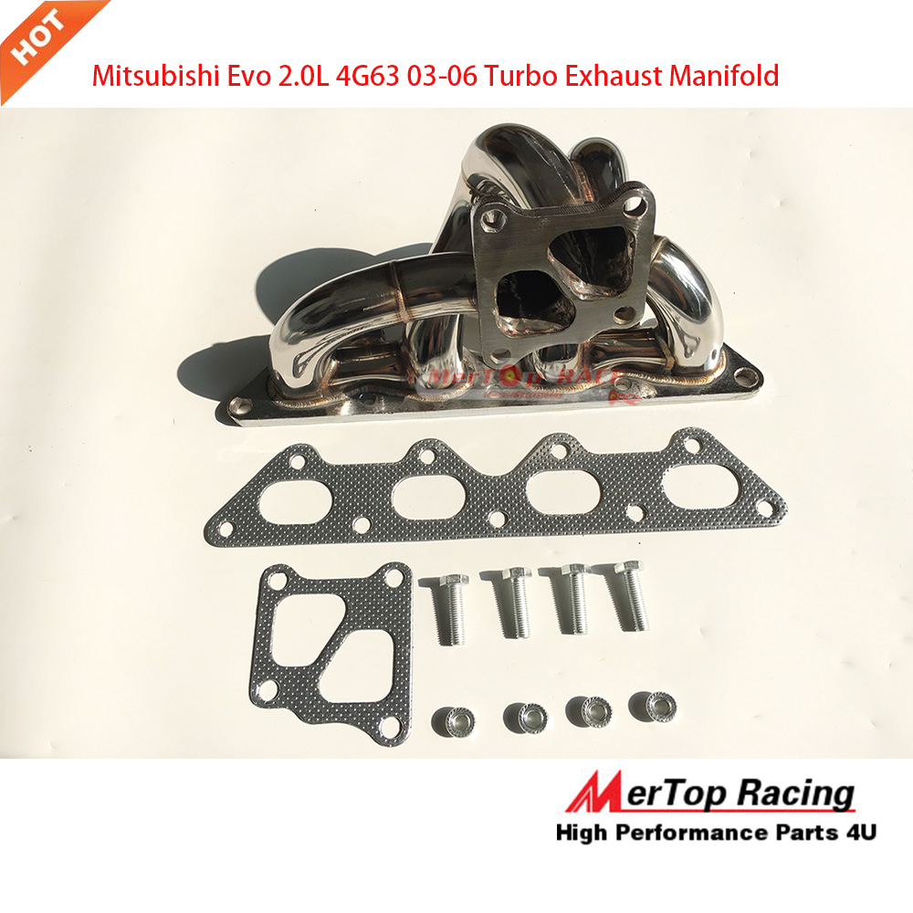 MERTOP RACE 304Stainless Steel Manifold Header For  Evo7 EVO8 EVO9  4G63 2002-08