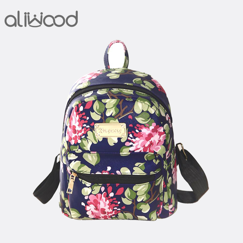 Women Backpacks PU Leather 3D Printing Floral Rivet Famous Brands Backpack Female School Bag For Teenagers Girls Travel Mochilas 2018 new casual girls backpack pu leather 8 colors fashion women backpack school travel bag with bear doll for teenagers girls