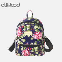 116c0ab122bd Women Backpacks PU Leather 3D Printing Floral Rivet Famous Brands Backpack  Female School Bag For Teenagers