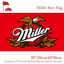 Free shipping 90*150cm 60*90cm Miller Beer Flag For Bar Party Sign 3x5FT цена